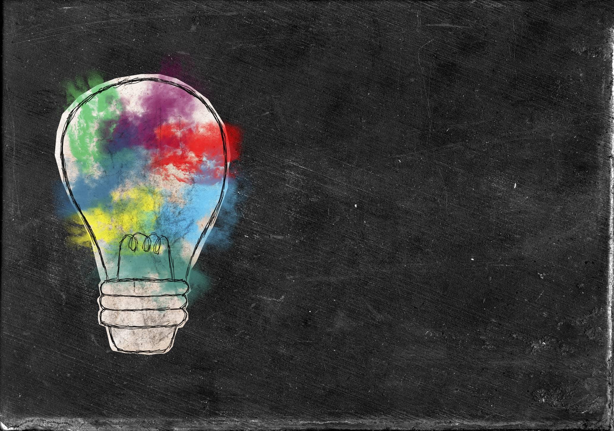 Multicoloured lightbulb concept for employee engagement ideas